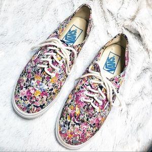 Vans Floral Watercolor Lace Up Shoes Size 7
